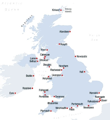 England Ferry Ports Map